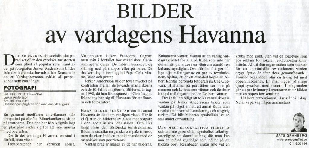 Ur Norrköpings Tidningar 2001-06-02